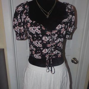 Floral Crop Top and Crochet Detailed Skirt